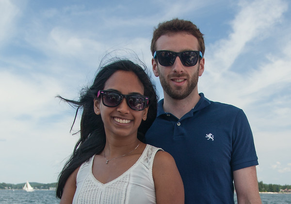 Colin and Preethi on the deck of the East Wind